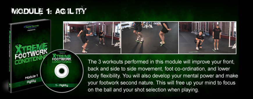 Module 1: Agility - The 3 workouts here will improve your front, back and side to side movement, foot co-ordination, and lower body flexibility