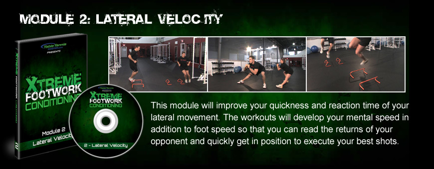 Module 2: Lateral Velocity - These workouts will improve your quickness and reaction time of your lateral movment. You will develop your mental speed as well as foot speed